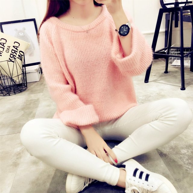 Oversize White Knitted Ribbed Sweater O Neck Long Sleeve Korean Blue Women Pullover Sweater Harajuku Pink Thick Pull Femme Hiver
