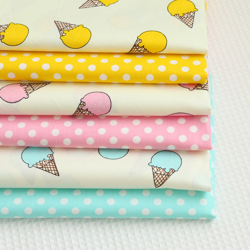 Free ship 100% twill icecream print fabric ABC style for dress price for 2 meters