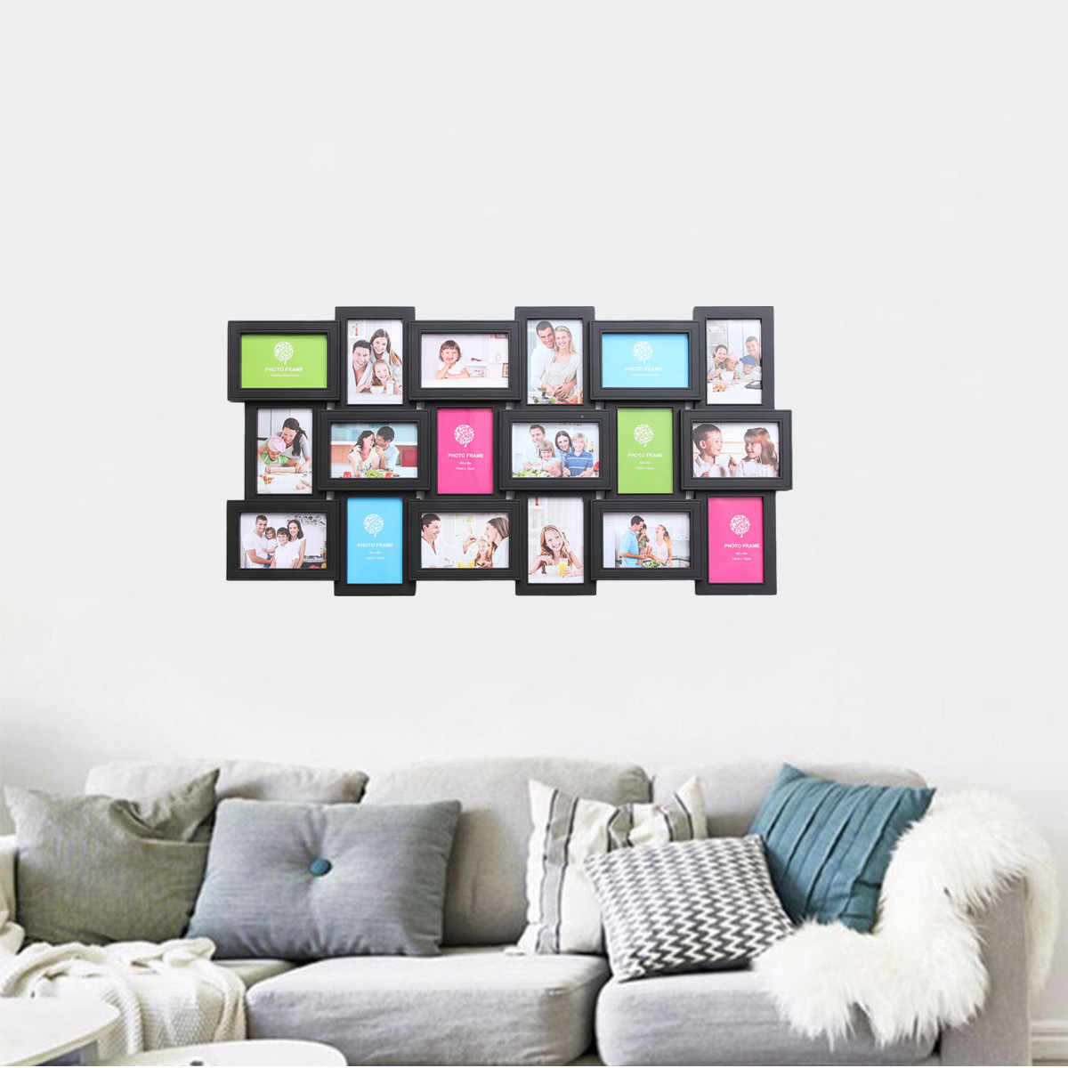 ... 18 Photos Frame Wall Decoration Multi Pictures Frame Collage Aperture  DIY Home Decor For Living Room ...