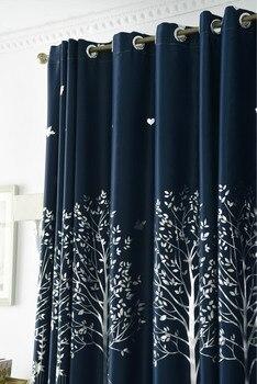 Coréen Pastorale Imprimé Petit Arbre Lin Rideaux Pour Chambre Fenêtre Salon Pure Rideaux Occultants Luxe Décor à La Maison