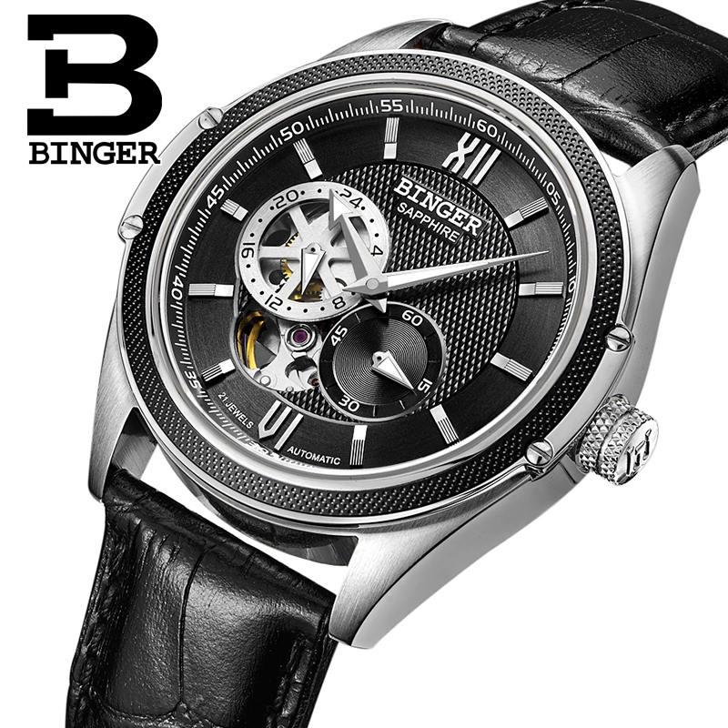 Switzerland Binger Watch Men Luxury Brand Miyota Automatic Mechanical Movement Watches Sapphire Waterproof reloj hombre B-1165-6 switzerland mechanical men watches binger luxury brand skeleton wrist waterproof watch men sapphire male reloj hombre b1175g 3