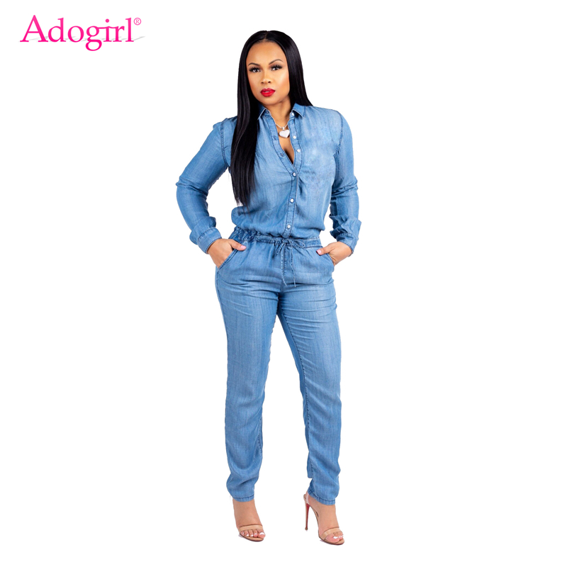 Adogirl Fashion Lace Up Jeans   Jumpsuit   Buttons Turn Down Collar Long Sleeve Women Casual Vintage Rompers Denim Overall Plus Size