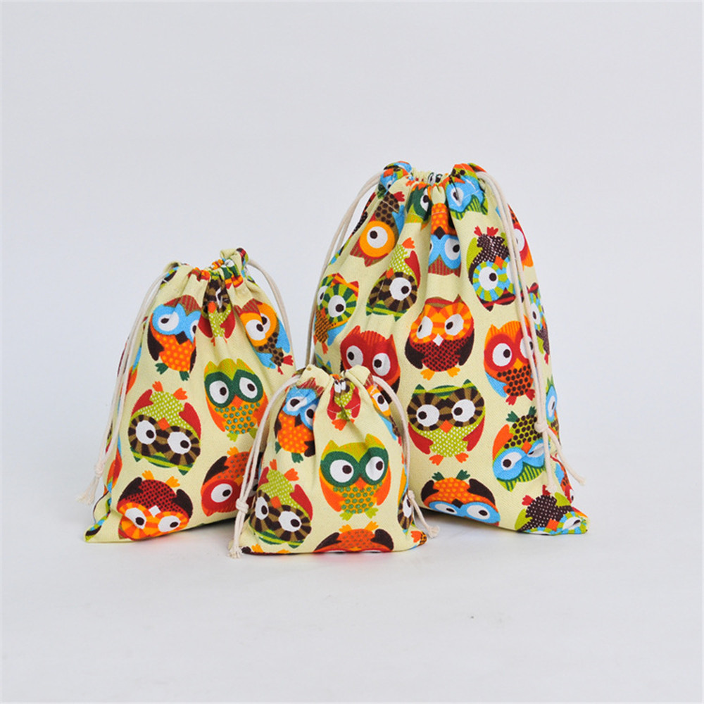 Canvas Drawstring Pouch Party Gift Bag Print Owl Home Organizer Bag Size Choosing