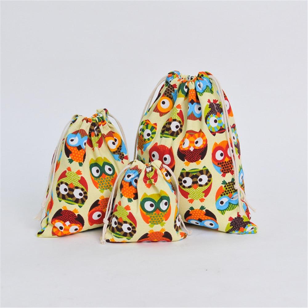 Canvas Drawstring Pouch Party Gift Bag Print Owl Home Organizer Bag Size Choosing