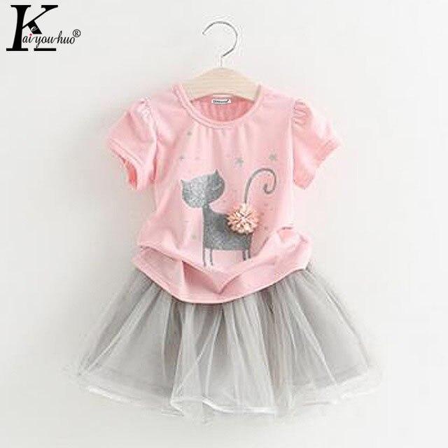 Girls Clothes 2017 Summer Short Sleeves Girls Dress T-shirt+Chiffon Tutu Skirt Dress Sport Suit Kids Clothes Set 1 2 3 4 5 Years