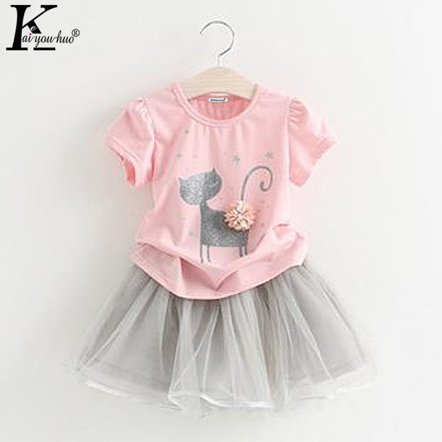 Kids Clothes Sets 2018 Summer Baby Girls Clothes Short Sleeves Children Clothing Girls Sport Suits T-shirt+Skirt 1 2 3 4 5 Years