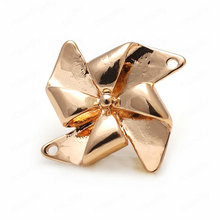 6PCS 20MM 24K Champagne Gold Color Plated Brass Windmill Charms Pendants High Quality Diy Jewelry Accessories