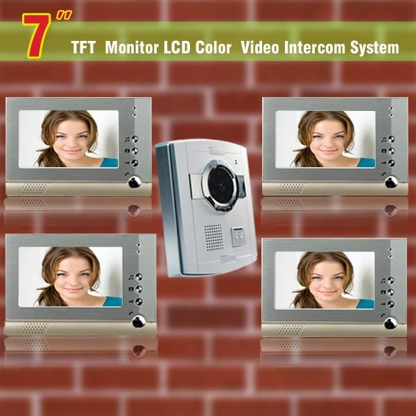 7 Inch Video Door Phone Doorbell Intercom System Video Doorphone Interphone Night Vision Camera For Home Villa 4-Monitor