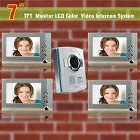 Güvenlik ve Koruma'ten Video Interkom'de 7 inç Görüntülü Kapı Telefonu Kapı Zili interkom sistemi Görüntülü kapı telefonu Interkom gece görüş kamera Ev villa 4 Monitör