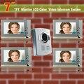 New 7 Inch LCD Door Phone Doorbell Intercom System Night Vision Video Doorphone Intercom 4 Monitors Video Door Bell Waterproof