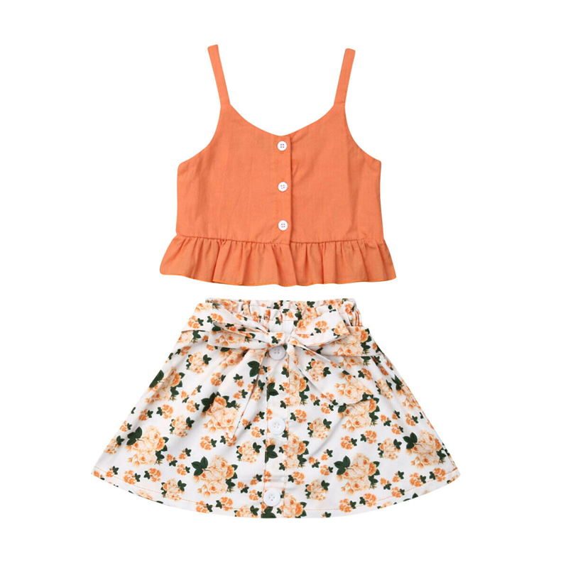 2019 Toddler Kids Baby Girls Summer Clothes Outfit Button T-shirt Tops+Floral Skirt 2PCS Set Childrens Skirt Set 1-6Y