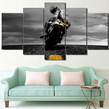 Modern Printing Type Poster Canvas Painting HD Wall Art Pictures 5 Panel Black Motorcycle Modular Artwork Vintage Home Decor