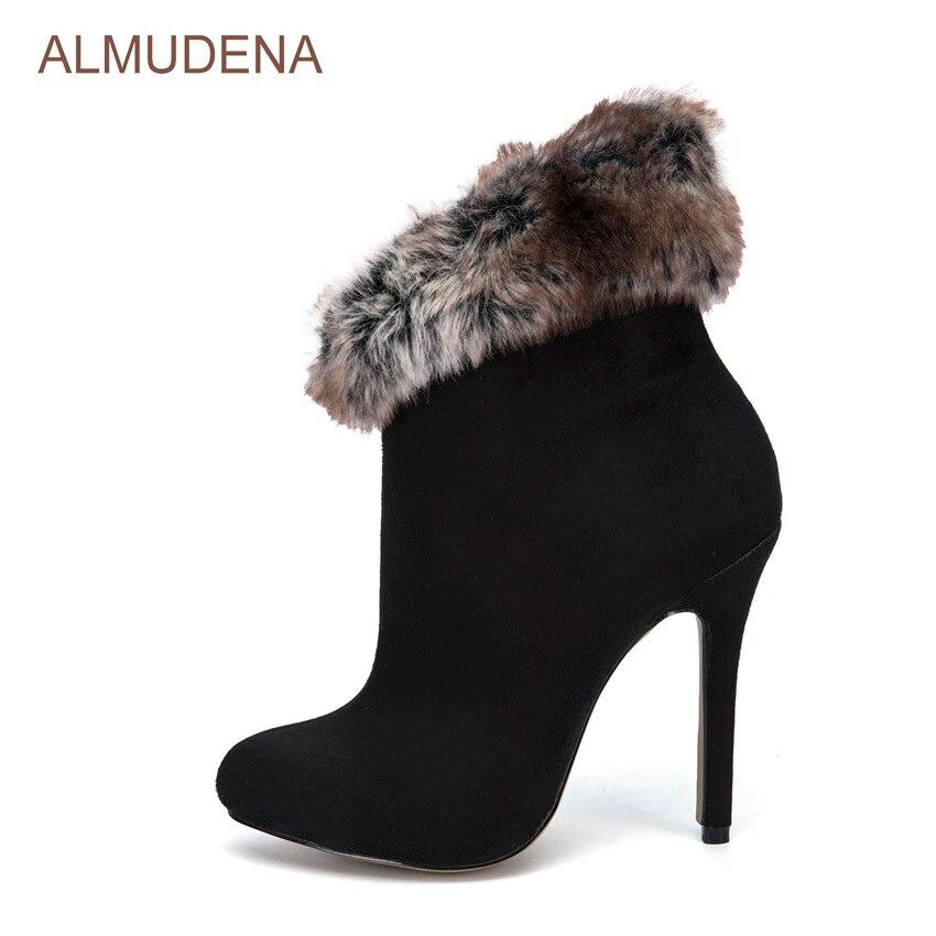 ALMUDENA Women Sexy Fall Winter Black Suede Ankle Boots Warm Fur Nice Shoes Thin High Heels Outdoor Footwear Zipped Short Bootie frank buytendijk dealing with dilemmas where business analytics fall short