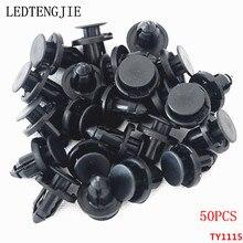 Clips de remaches para coche, 50 Uds. De diámetro, 8mm, de plástico negro, parachoques para puerta, Panel de guardabarros, Clips de retenedor