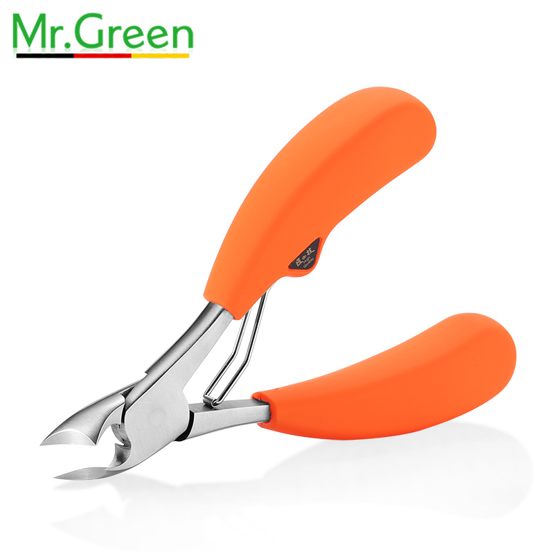Mr. vert ciseaux à cuticules épais dur coupe-ongles pointe coupée morte peau dure Callus Nipper podiatrie incarné coupe-ongles Kit de manucure