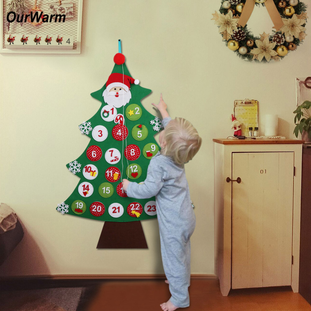 ourwarm christmas countdown calendar new year decor for home santa claus felt xmas advent. Black Bedroom Furniture Sets. Home Design Ideas
