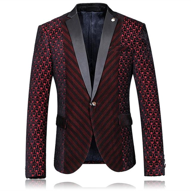 Blazer Men 2016 Mens Burgundy Blazer Wedding Blazers For Men Stage Costumes For Singers Fashion Printed Party Dress Jacket Q54