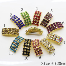 2017 New! top quality golden 10pc Arched Rhinestone Buckles Diamond Crystal For Hair bag Wedding Invitation Card free shipping(China)