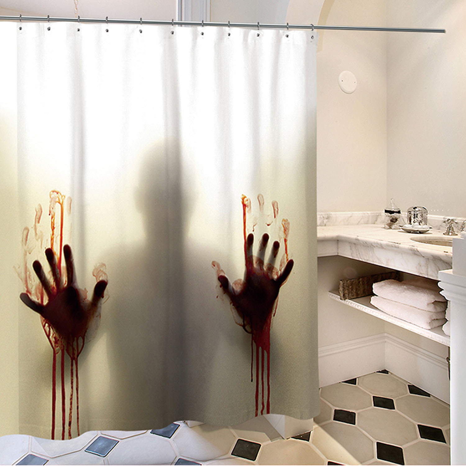 Us 11 14 25 Off Behogar Halloween Scary Shadow Bloody Hands Waterproof Bathroom Shower Curtain With 12 Curtain Hooks 1 8 X 1 8m In Party Diy