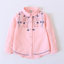 Spring Autumn Soft Flowers Embroidery Cute Girls shirts Kids Princess Sweety Girl Blouses Children Breathable Clothes Girl Top