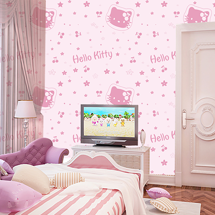 new home decor kids baby wallpaper non woven child real hellokitty cartoon graphic patterns. Black Bedroom Furniture Sets. Home Design Ideas