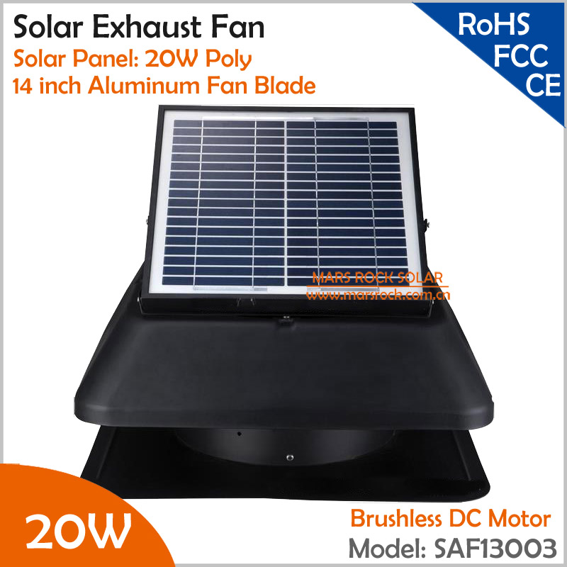 Brushless Motor Adjustable Solar Panel 20W 14'' Solar Exhaust Fan with cable switch ventilation fan Providing 3315CMH Air Flow brushless motor adjustable solar panel 25w 14 solar exhaust fan with cable switch ventilation fan themostat controller