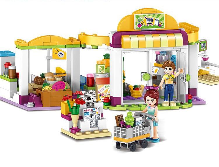 318PCS Heartlake Supermarket Reedcall girls Building Block Bricks font b toys b font 37012 action Figures