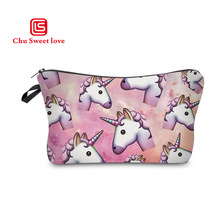 12Styles Catoon Printed Unicorn Cosmetic Bag Woman Harajuku Toiletries Zipper Storage Pouch Portable Women Travel Makeup
