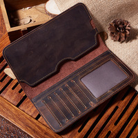 2018 New Pattern Genuine Real Leather Men Male Long Wallet And Purse Mobile Phone Bag Crazy Horse Credit Card Case Holder