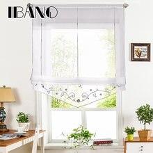 Римская занавеска с цветочной вышивкой прозрачная оконная для