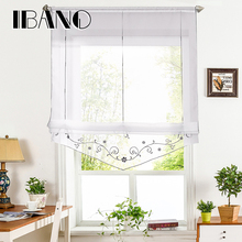 Roman Curtain Floral Embroidered Sheer Window For Kitchen Living Room Voile Screening Panel 1 PCS/Lot With Ribbon Belts