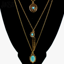 BLS101 Long Bohemian Gold Beads Necklaces & Pendants for Women Boho Vintage Accessories Turquoise Colar Ethnic Jewelry Green