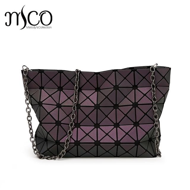 2017 Japanese Luminous Geometric Holographic Bag Women Folding Lattice Shoulder  Bag Bao Totes Handbags Lingge Chain Clutch Bag 87cf8b20f6463