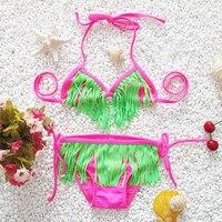 Hot selling! 2018 nieuwe kinderen leuke kwastje badmode meisje split bikini badmode Kind badpak Kinderen strand badmode
