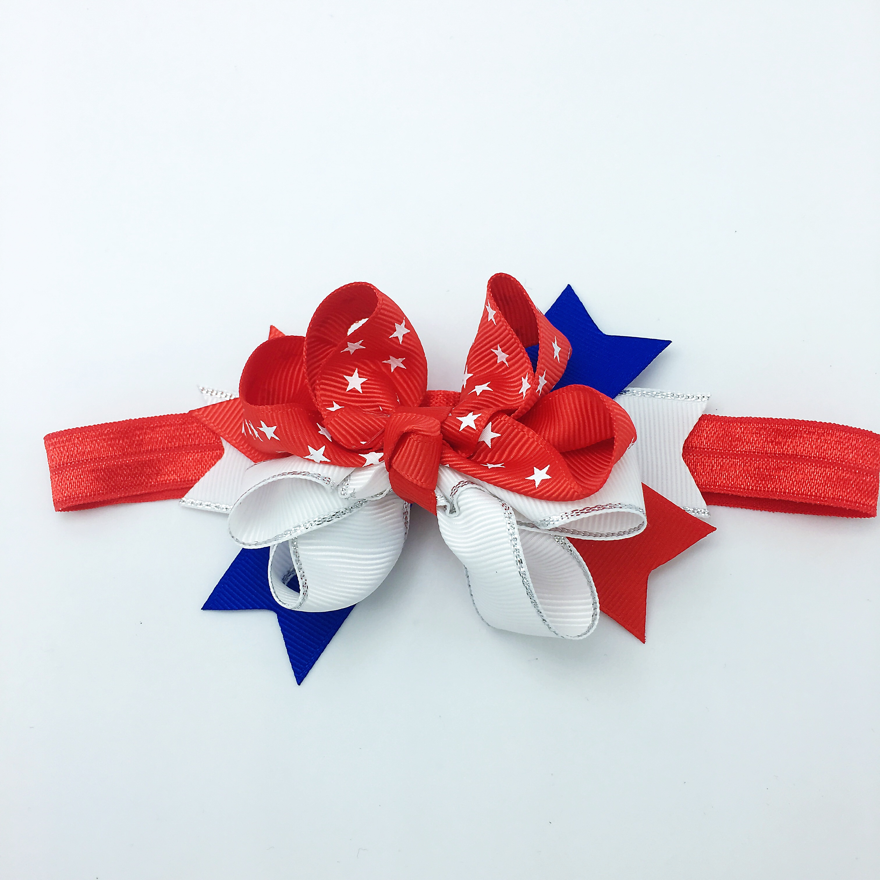 4 Girls 4th July Glitter Hair Bows With Alligator Clip Accessories Fourth