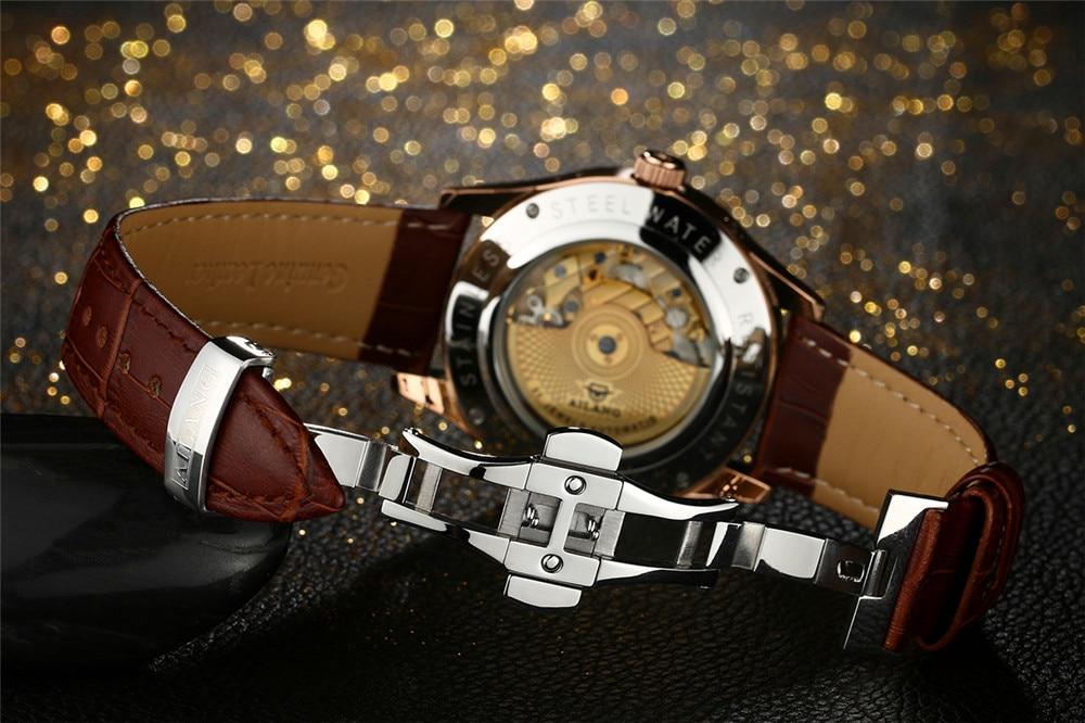 AILANG 기계식 시계 남성 정품 가죽 시계 달력 방수 - 남성 시계 - 사진 6