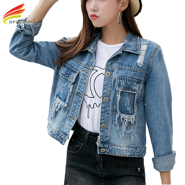 665aa0108ec Denim Jacket Women 2018 Spring Loose Big Hole Punk Rock Fashion Jean Jacket  Women Sky Blue