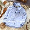 Весна осень одежда для младенцев новорожденные младенцы полоска длинный рукав рубашки кардиган мальчики блузка