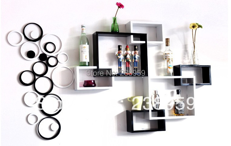 Cube Display Wooden Wall Shelf Design Hang On The Tv