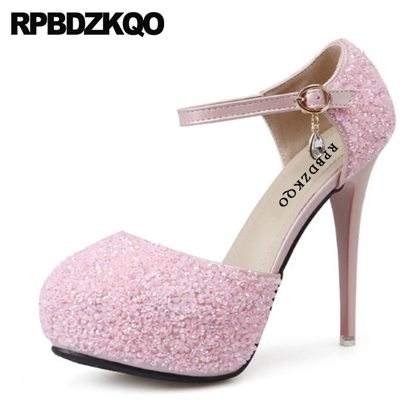 Pumps Women Silver Rhinestone Heels High 12cm 5 Inch Wedding Platform Glitter Ankle Strap Cheap Round Toe Scarpin Shoes Pink