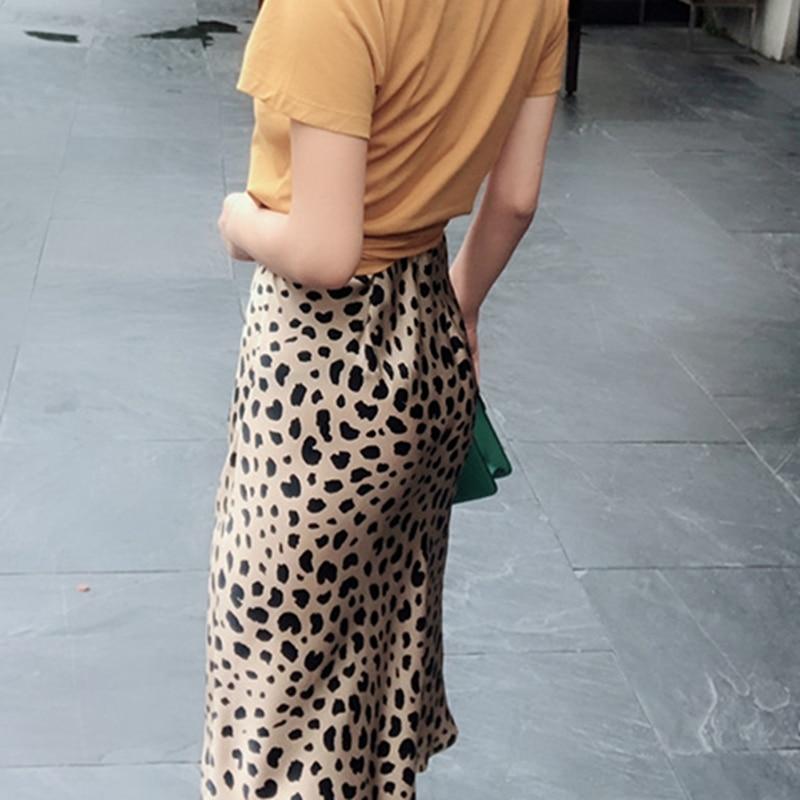 Summer 19 kawaii boho bodycon leopard print high waist skirts womens midi leopard skirt punk streetwear korean style 14