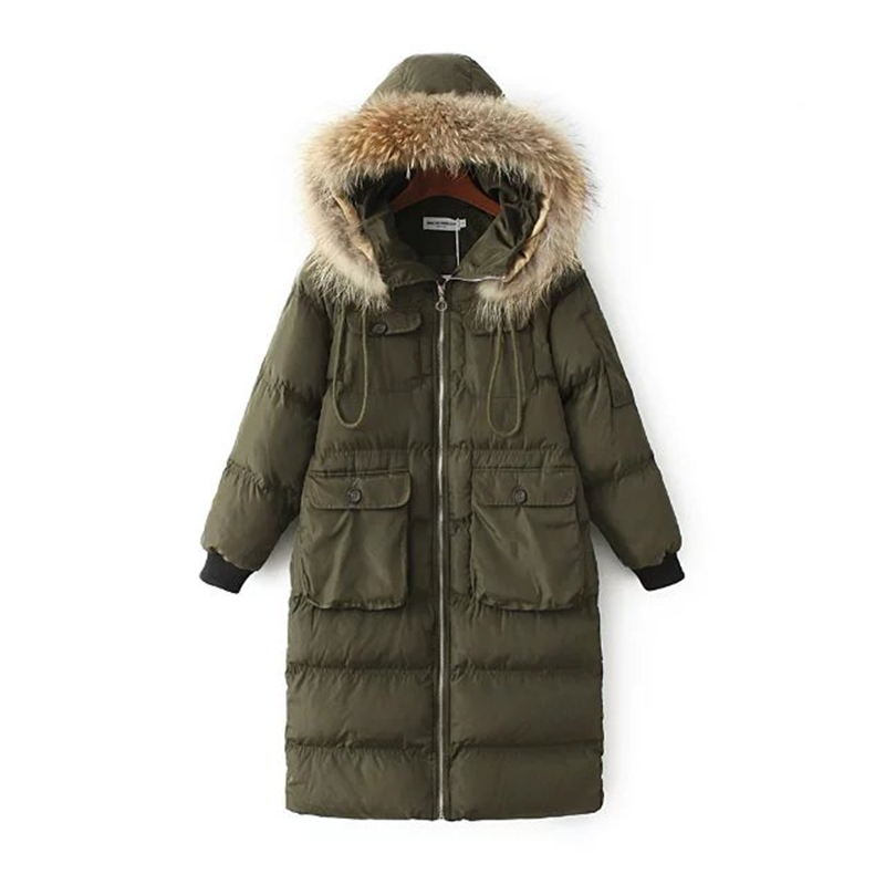 Womens Winter Jackets And Coats Fur Collar Hooded Coat Warm Jacket Female Army Green Outerwear cotton padded Casual Down Coat womens winter jackets and coats fashion wadded jacket female warm hooded long cotton coat fur collar casual parka coat c1242