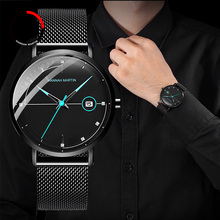 купить Fashion Mens Watches Top Brand Luxury Quartz Watch Men Casual Slim Mesh Steel Date Life Waterproof Sport Watch Relogio Masculino по цене 976.32 рублей
