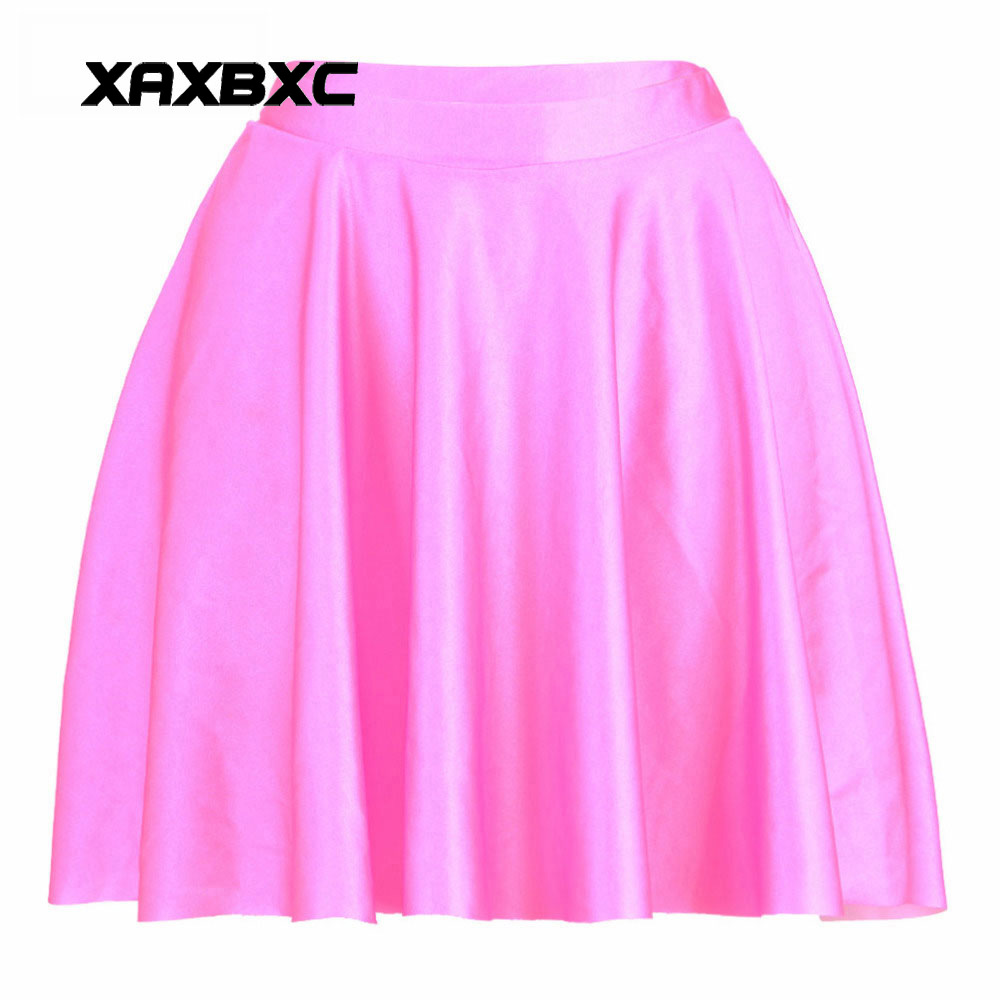 NEW 1058 Summer Sexy Girl Rainbow Solid Candy Color Pink Printed Cheering Squad Tutu Skater Women Mini Pleated Skirt Plus Size