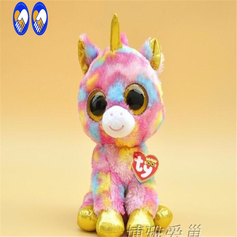 (A Toy A dream)2017 Hot Ty Beanie Boos Big Eyes Small Unicorn Plush Toy Doll Kawaii Stuffed Animals Collection Children's Gifts new beanie boos scoop white snowman plush animals 6 15cm ty big eyes stuffed animal cute soft toys for children kids gifts