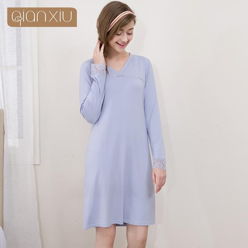 Women Nightgowns Long Sleeve Round Neck Modal Relax Life Nightdress Ladies  Nightshirt Sleepwear Nightwear for Women 1709-in Nightgowns   Sleepshirts  from ... 8c4cc9956