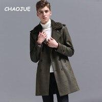 CHAOJUE 2018 осень/зима теплая Армейский зеленый стеганая куртка для Для мужчин модное двубортное Slim Fit хлопок ватник Бесплатная доставка