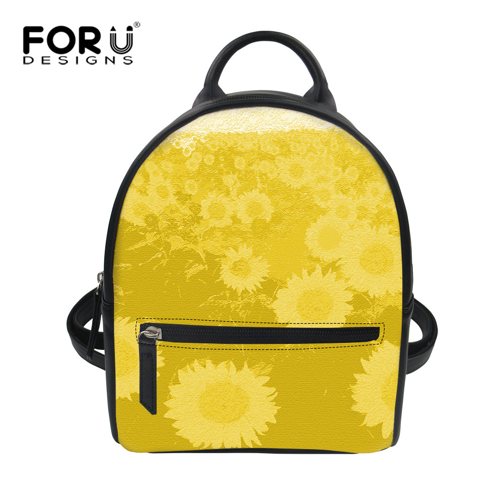 FORUDESIGNS Fresh Style Yellow Daisy Woman School Bags College for Teenagers Red Orange 3 Color Small Book Daily Back Pack Girls