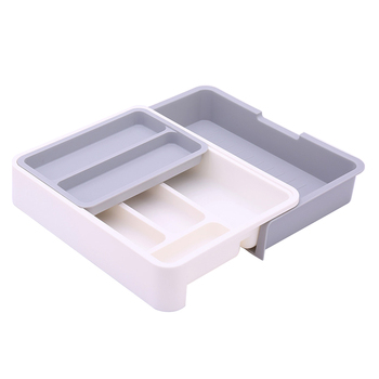 Plastic Kitchen Drawer Organizer and Cutlery Storage Tray for Spoons Fork and Knives