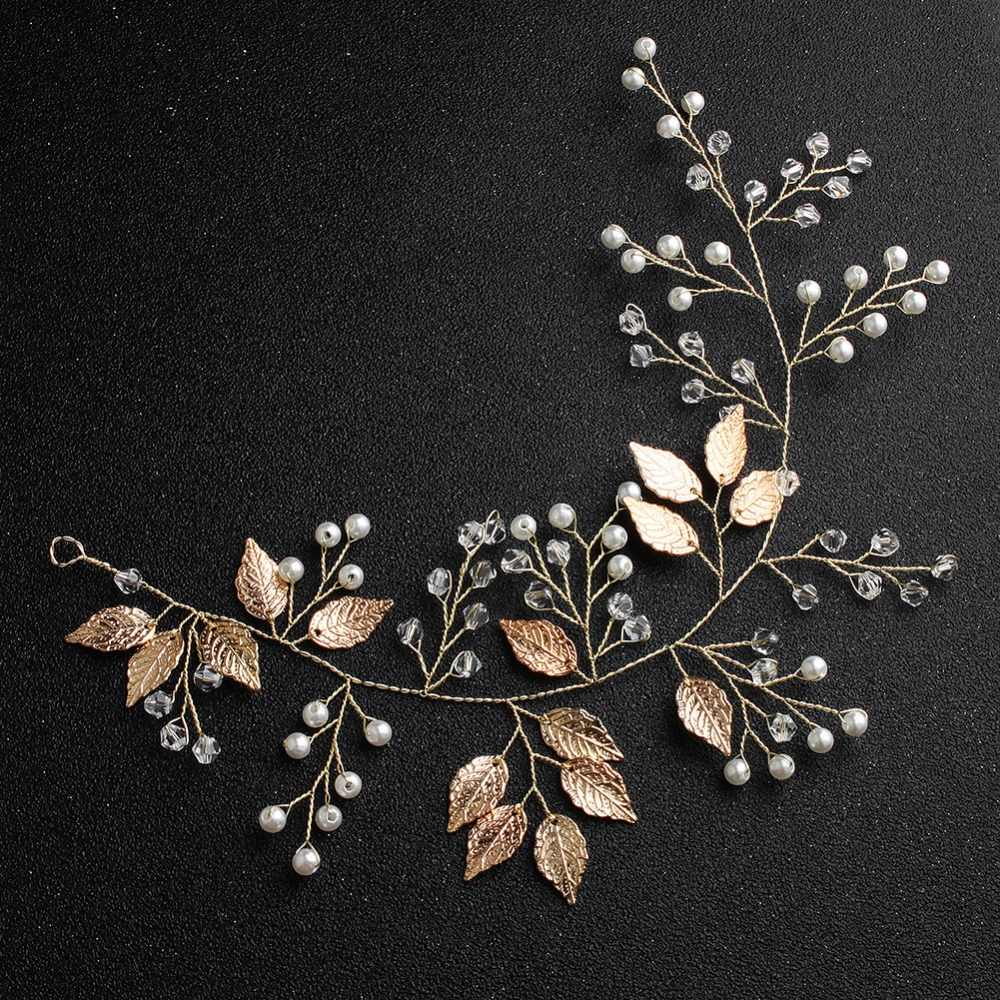 Gold Leaf ใบ Headbands เจ้าสาวงานแต่งงานเจ้าสาวคริสตัลเพิร์ล Vine งานแต่งงานตกแต่งของขวัญเครื่องประดับผมอุปกรณ์เสริม